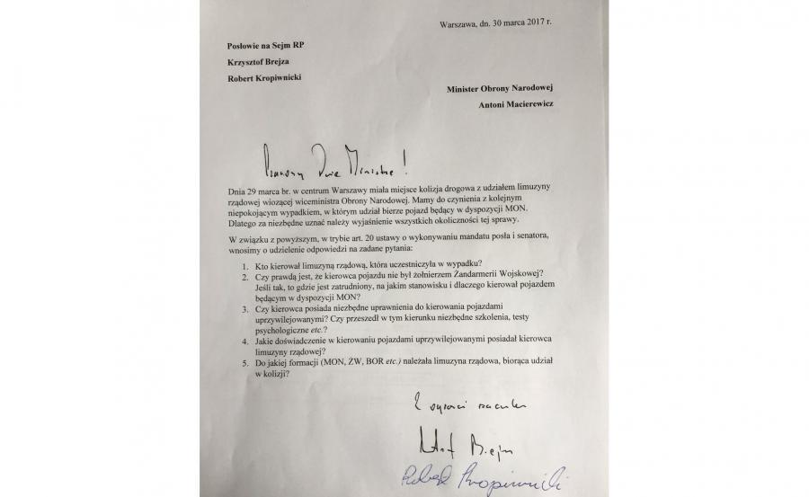 List posłów PO do Antoniego Macierewicza