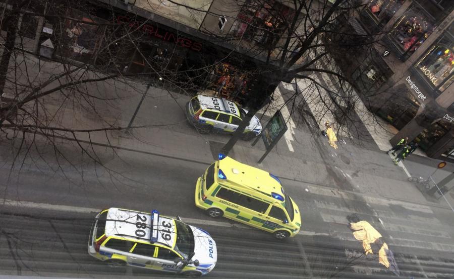 Miejsce zamachu w centrum Sztokholmu