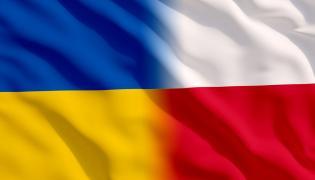 Flagi Ukrainy i Polski
