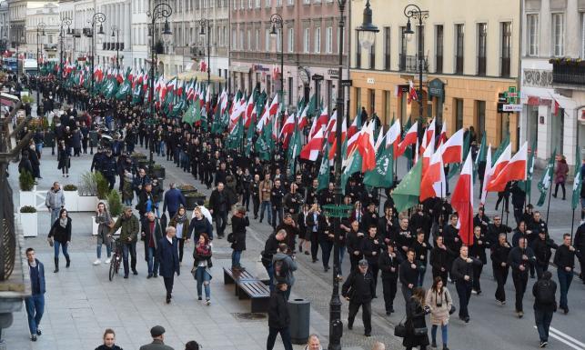 ONR maszerował w Warszawie. Pojawili się Obywatele RP, interweniowała policja. \