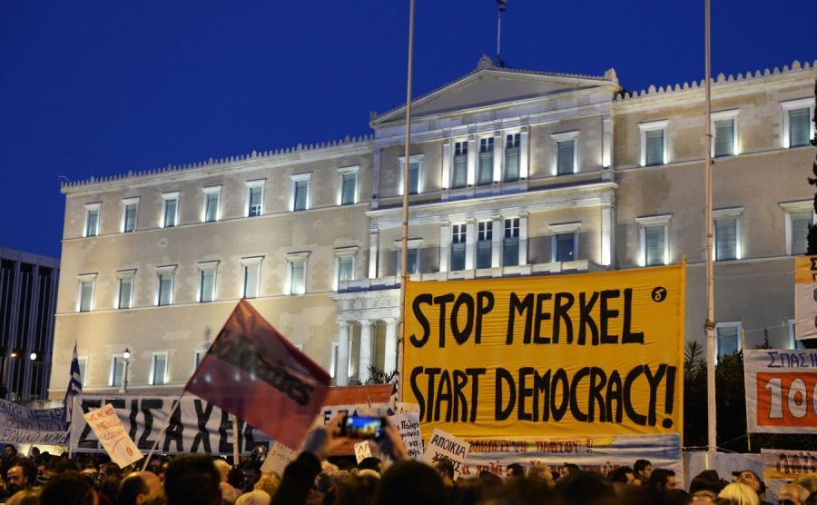 Protest przed greckim parlamentem