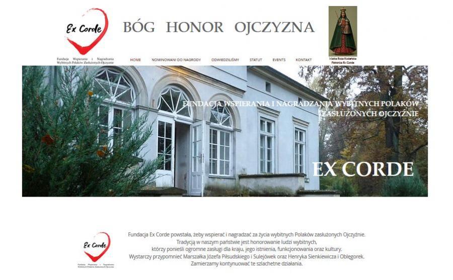 screenshot ze strony www.fundacjaexcorde.com