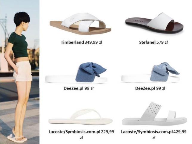 Modne białe buty na lato 2017: klapki