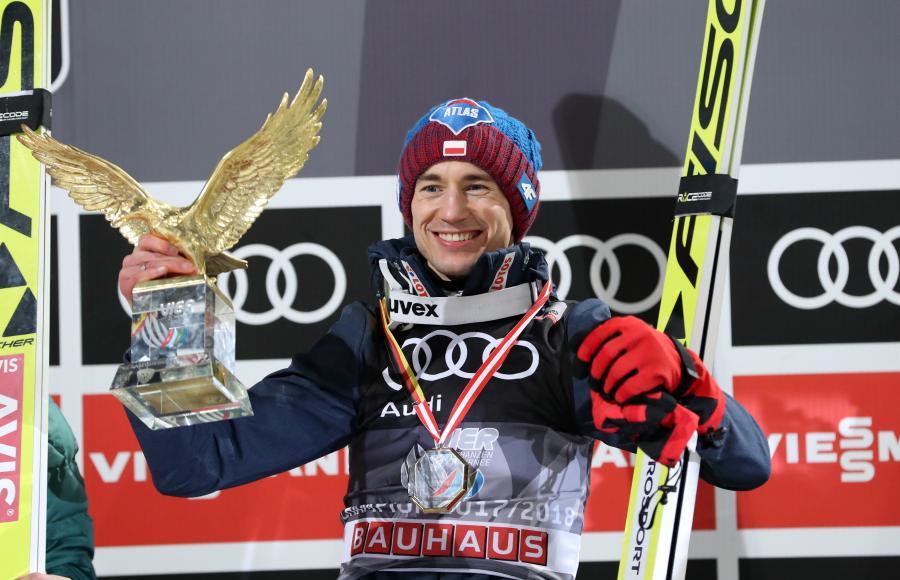 Kamil Stoch na podium w Bischofshofen