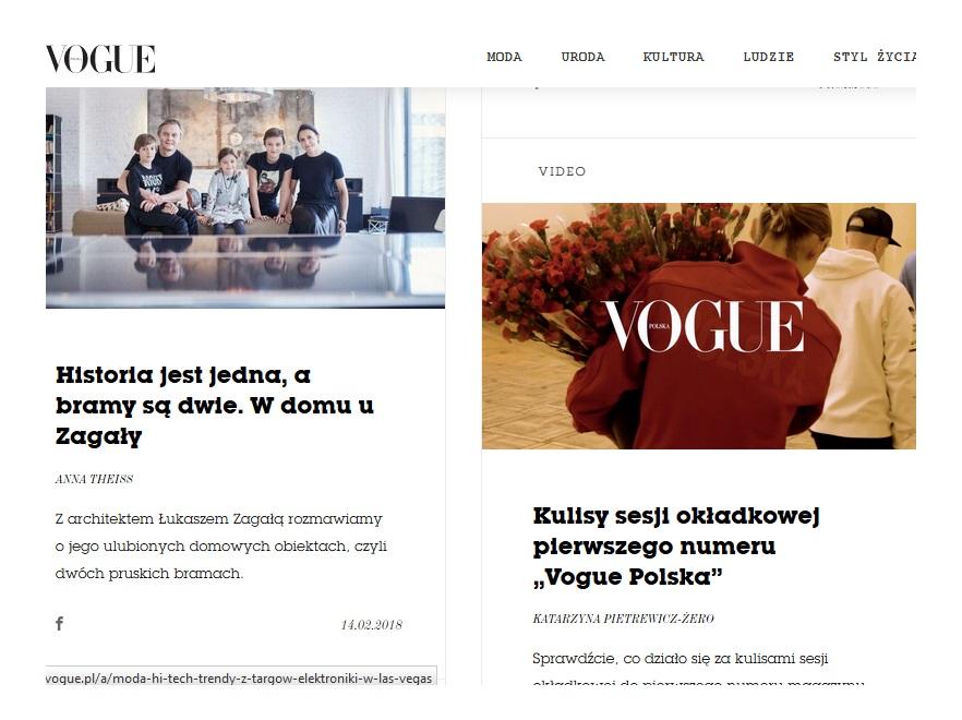 Widok strony internetowej vogue.pl