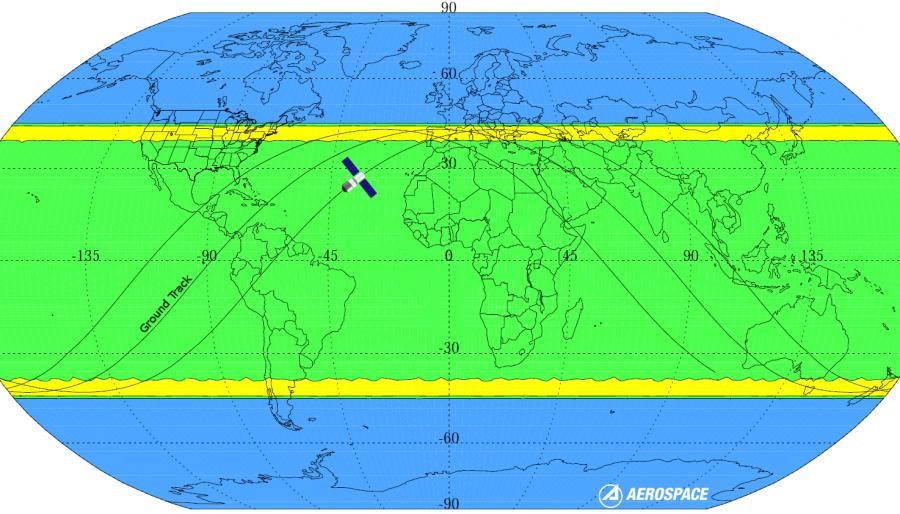Mapa możliwych miejsc upadku Tiangong-1