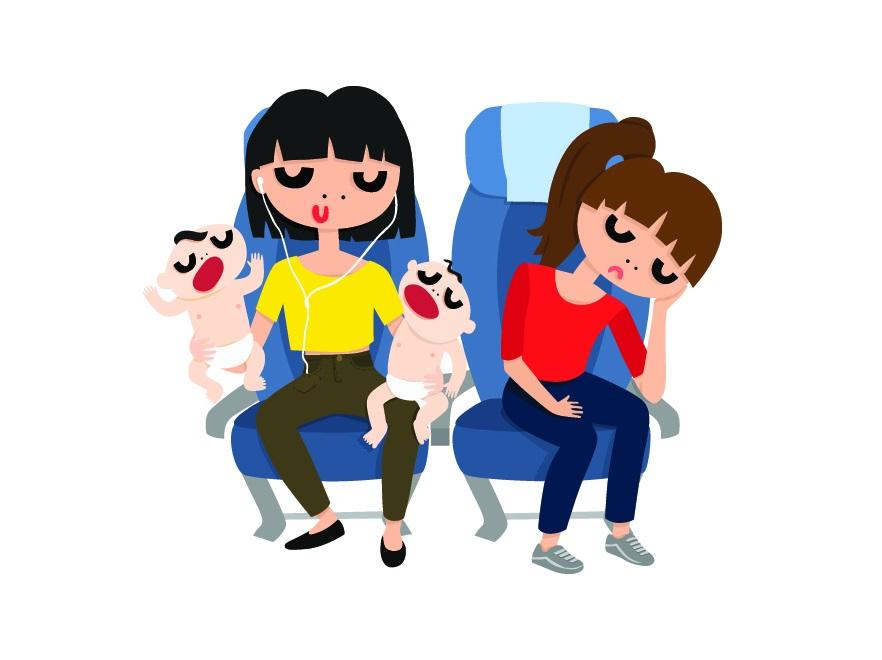 Krzyczące dzieci w samolocie