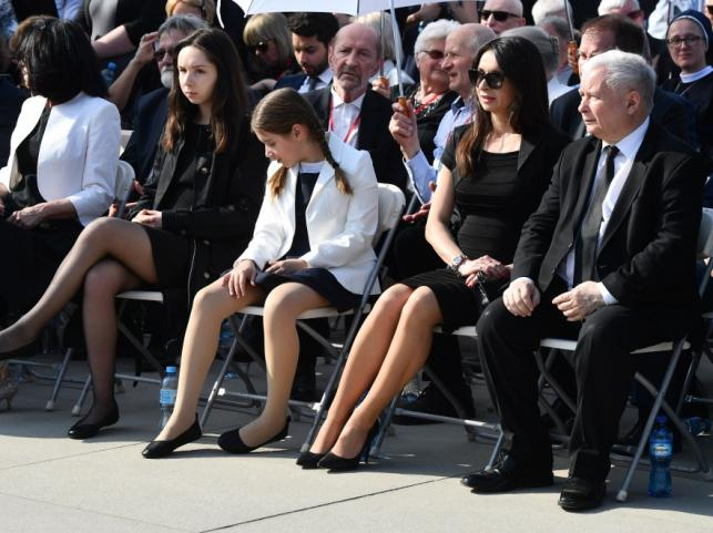 Marta Kaczyńska z córkami i Jarosław Kaczyński