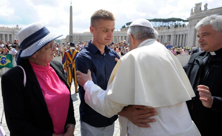 Tomasz Komenda na spotkaniu z Franciszkiem