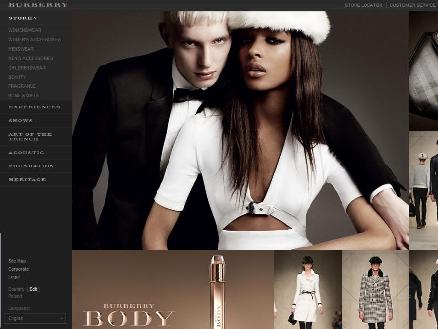 Widok strony internetowej domu mody Burberry.