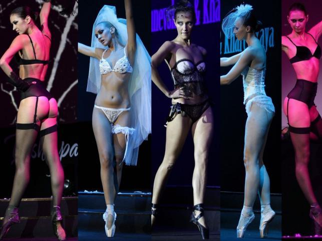 Modelki jako baletnice podczas pokazu bielizny rosyjskiego domu mody Vishnevskaya&Kharetskaya