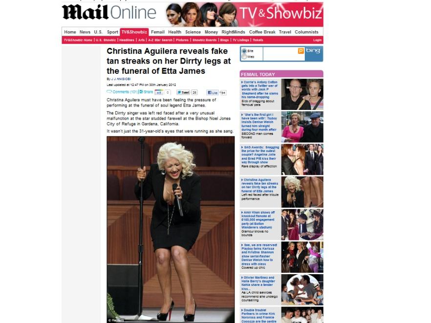 Christina Aguilera podczas występu na pogrzebie Etty James
