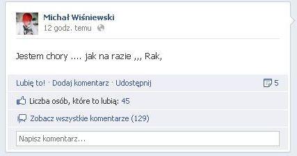 Wpis Michała Wiśniewskiego na Facebooku