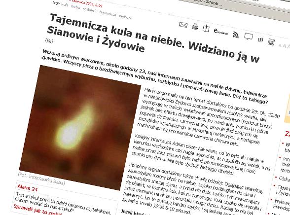 Meteoryt rozleciał się nad Polską?