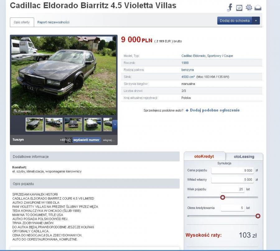 Ogłoszenie o sprzedaży cadillaca eldorado, którym jeździła Violetta Villas