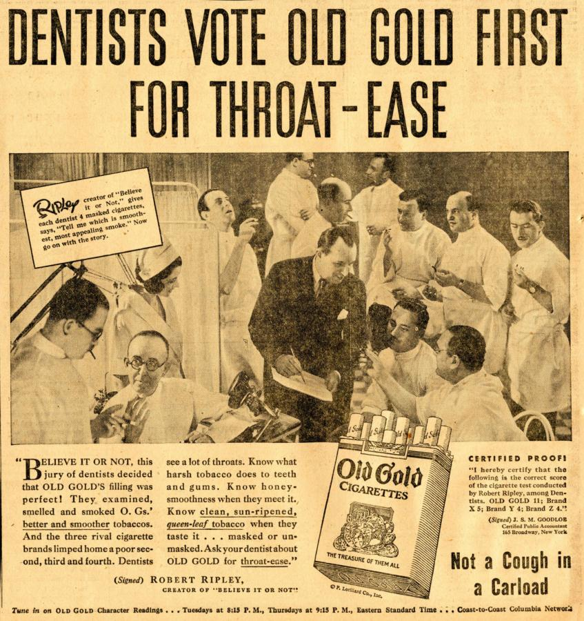 "Papierosy ""Old Gold"", rok 1946"