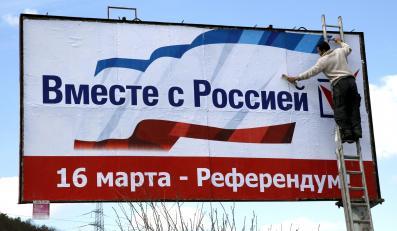Plakat nawołujący do głosowania za oderwaniem Krymu od Ukrainy