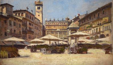 Piazza delle Erbe w Weronie, 1900, olej, płótno naklejone na desce, 17,7 x 27,3 cm, Muzeum Narodowe w Krakowie