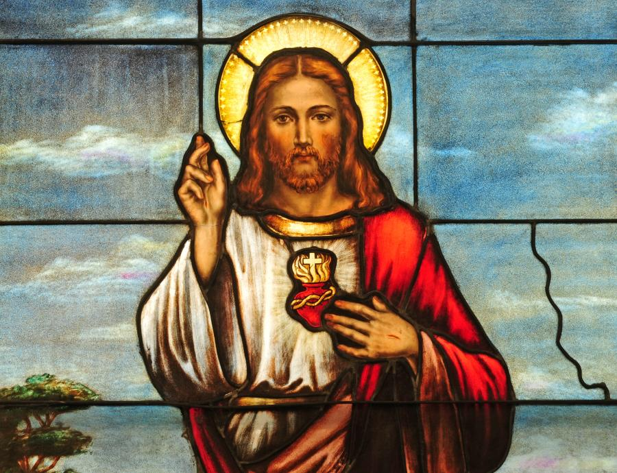 Jezus Chrystus na witrażu