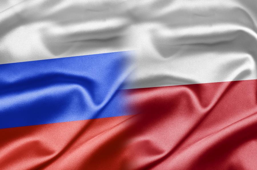 Flagi: Rosji i Polski