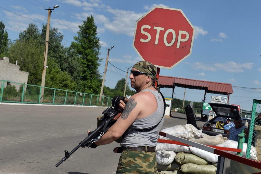 Posterunek separatystów na wschodzie Ukrainy