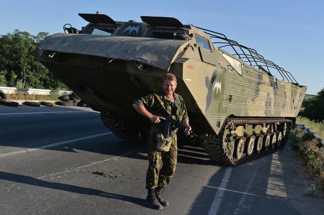 Posterunek separtystów niedaleko Ługańska na wschodzie Ukrainy