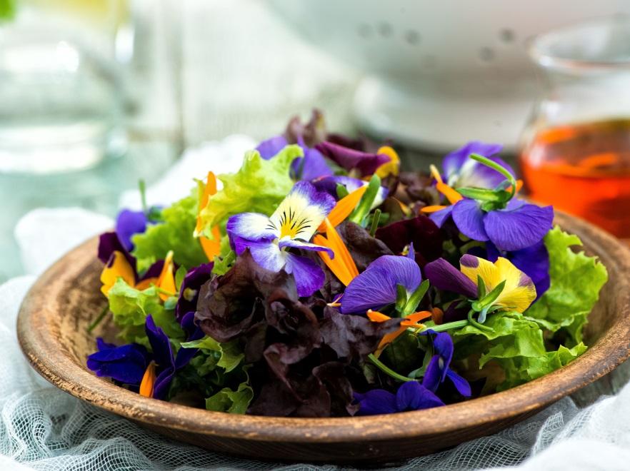 Sałatka z letnich liści sałat i kwiatów
