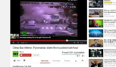 Pożar chińskiego autobusu