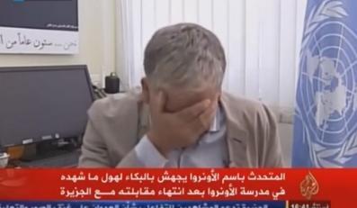 Chris Gunness, wysłannik ONZ w Strefie Gazy, płacze po wywiadzie dla Al-Jazeery