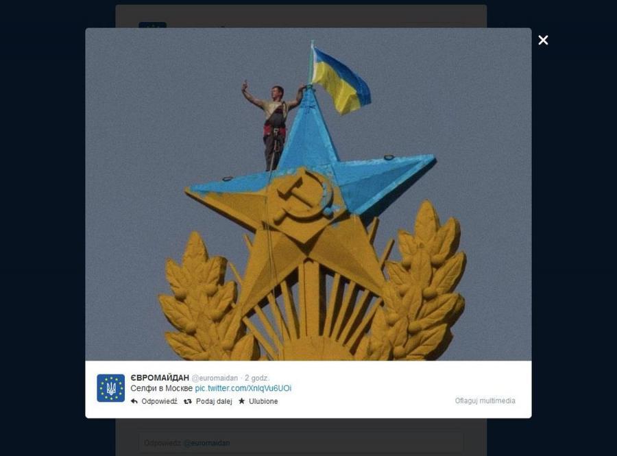 Prowokacja w centrum Moskwy. Przemalowali gwiazdę w ukraińskie barwy