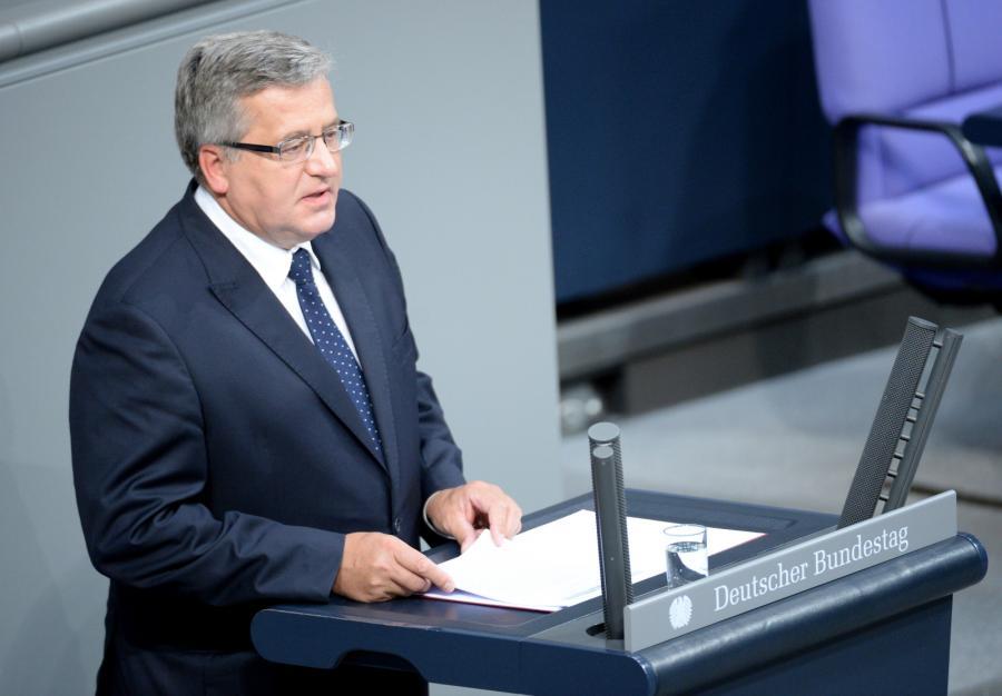 Prezydent Bronisław Komorowski przemawia w Bundestagu w Berlinie