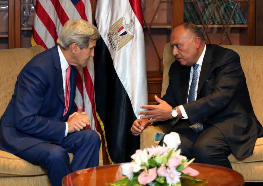 John Kerry i egipski minister spraw zagranicznych