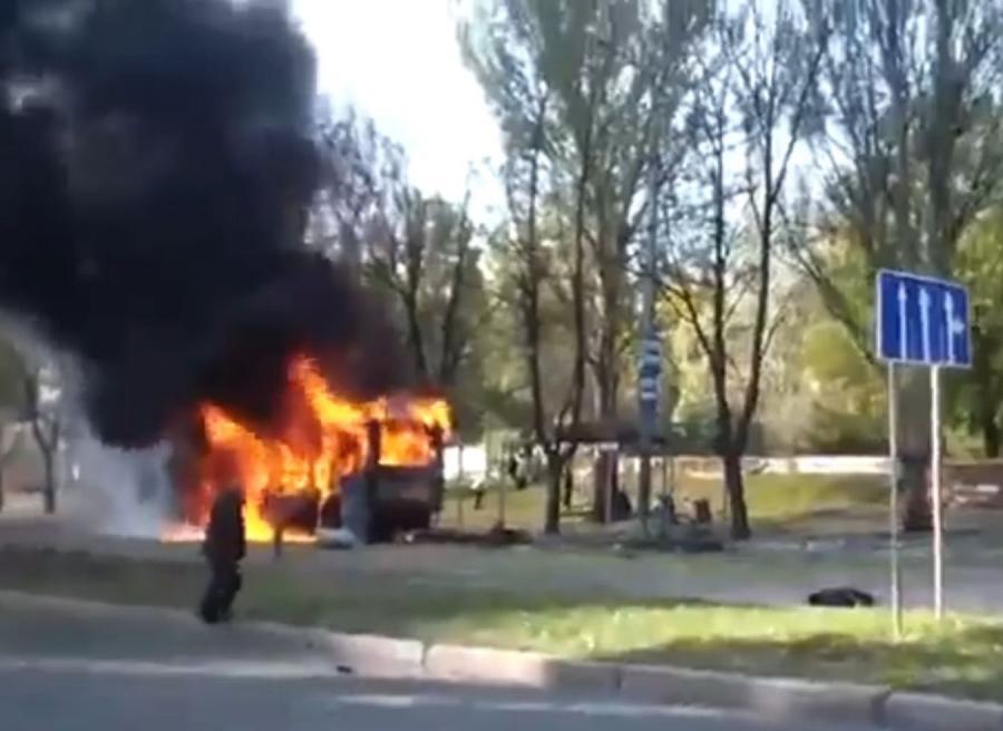 Ostrzelany przystanek w Doniecku