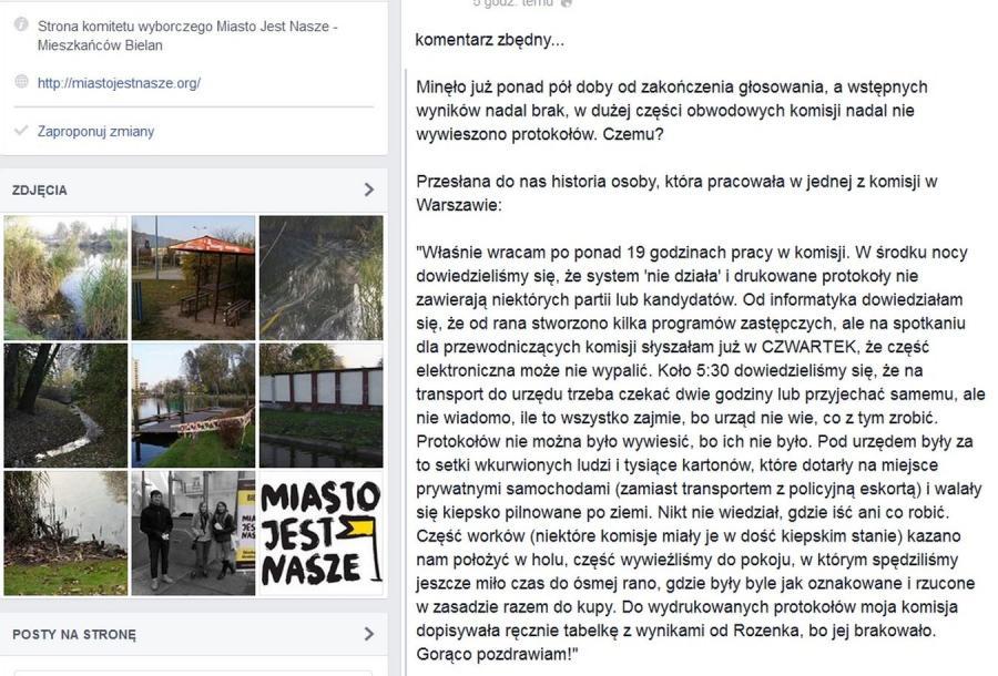 Relacja z wyborów  - Miasto Jest Nasze - Bielany