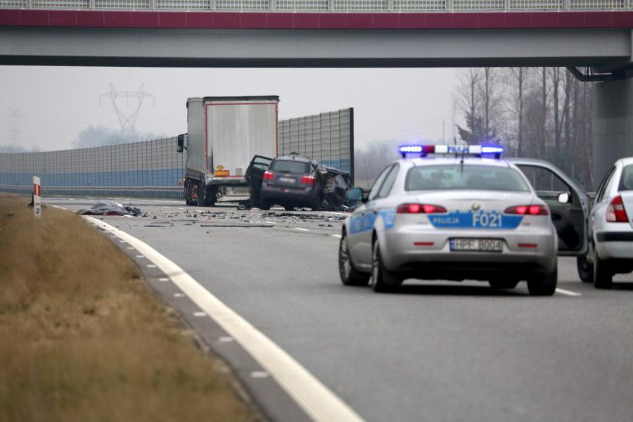 Miejsce wypadku, do którego doszło na autostradzie A2 między Strykowem a Łowiczem