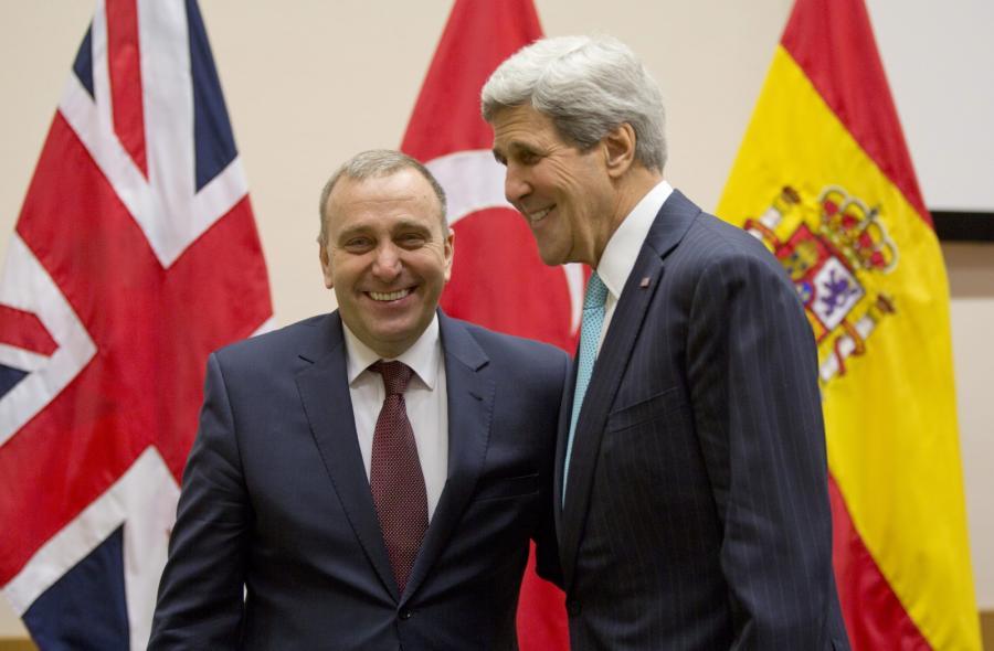 Grzegorz Schetyna i John Kerry w Brukseli