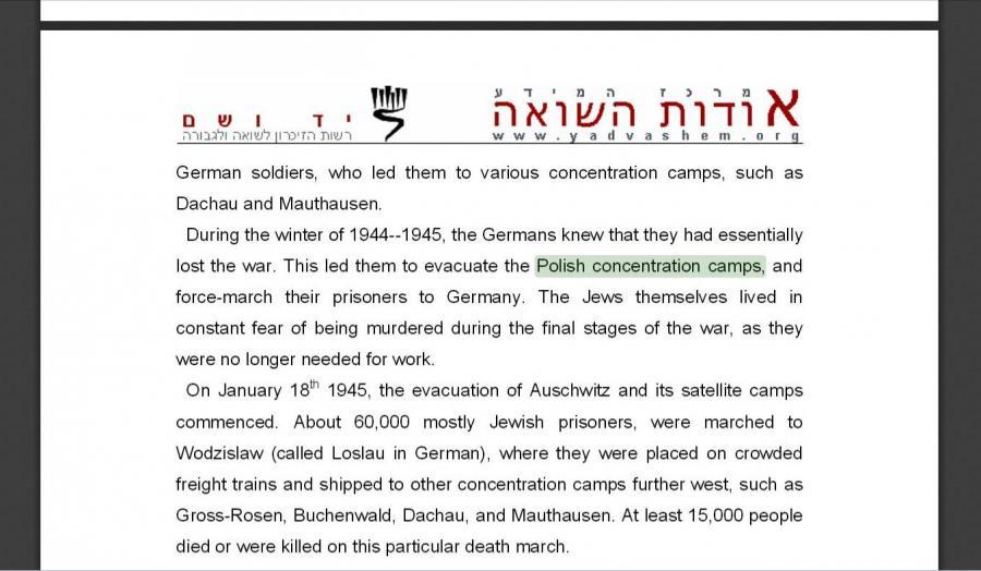 Informacje ze strony Yad Vashem i \