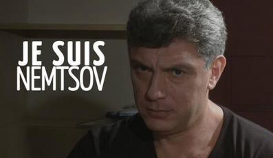"""Hasło """"Je suis Nemtsov"""" przy portrecie Borysa Niemcowa, zamiezczone na Twitterze"""