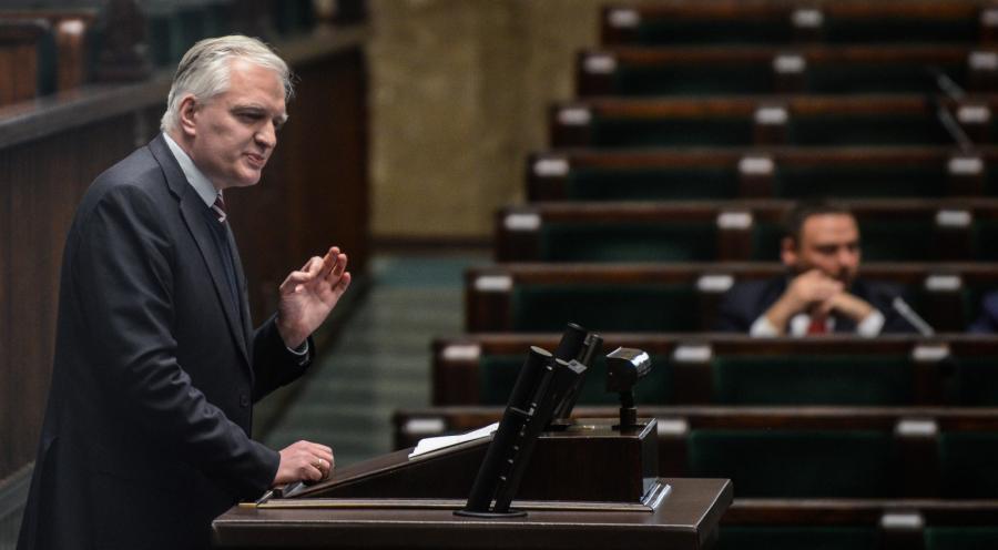 Lider Sprawiedliwej Polski Jarosław Gowin, podczas debaty o in vitro