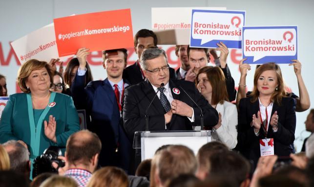 Bronisław Komorowski w czasie wieczoru wyborczego: