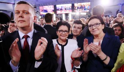 Tomasz Siemoniak, Teresa Piotrowska, Hanna Gronkiewicz-Waltz, Ewa Kopacz w czasie wieczoru wyborczego Bronisława Komorowskiego