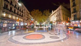 Mozaika Joana Miro na ulicy La Rambla, Barcelona, Hiszpania