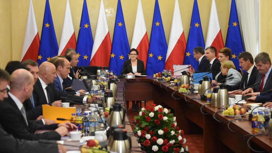 Premier Ewa Kopacz i ministrowie, przed posiedzeniem rządu w Białymstoku