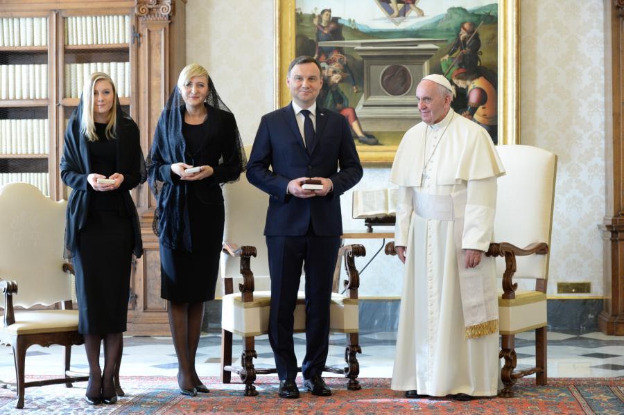 Andrzej Duda, papież Franciszek, Agata Kornhauser-Duda, Kinga Duda