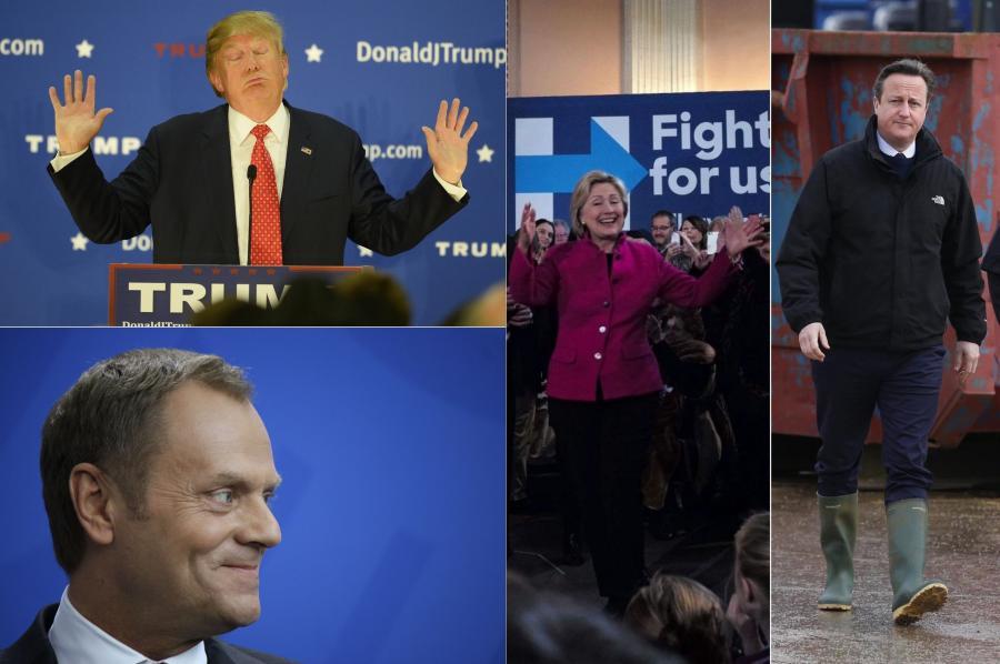Donald Trump, Donald Tusk, Hillary Clinton, David Cameron
