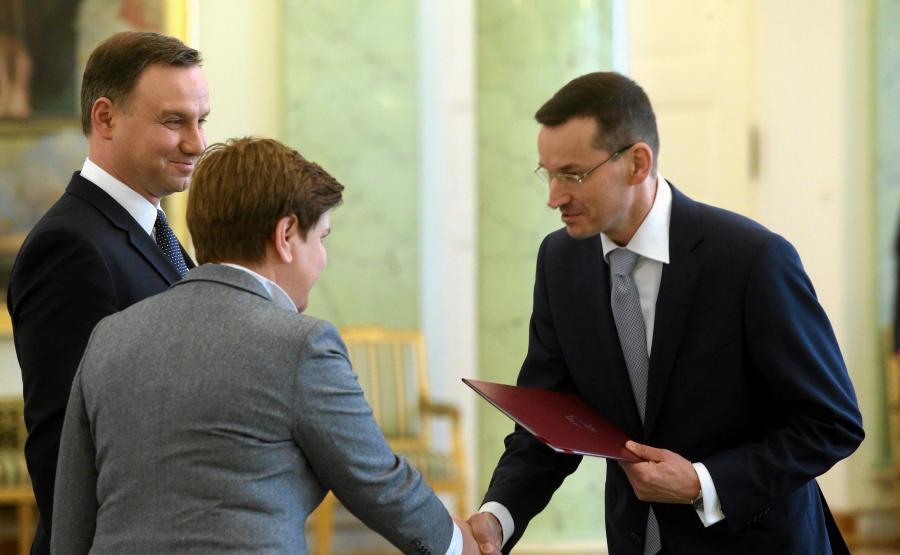 Premier Beata Szydło, prezydent Andrzej Duda oraz wicepremier i minister rozwoju Mateusz Morawiecki