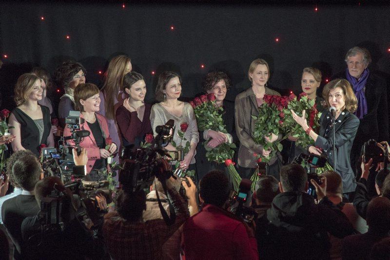 """Anne Fontaine i jej aktorki na premierze filmu """"Niewinne"""""""