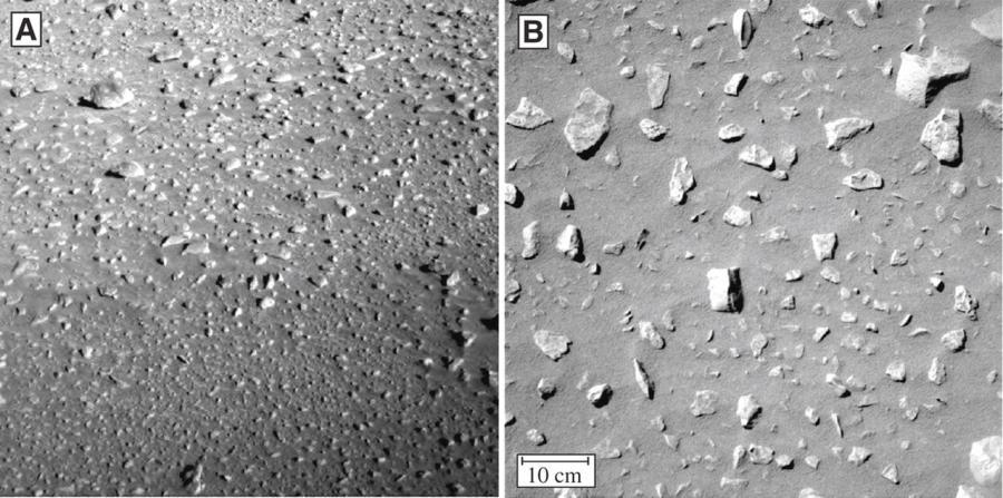 Odłamki skał na powierzchni Marsa są zadziwiająco równomiernie ułożone