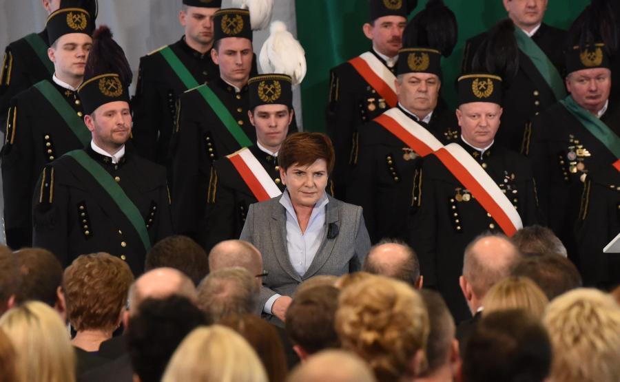 Premier Beata Szydło podczas uroczystej Akademii Barbórkowej w Brzeszczach (woj. małopolskie)