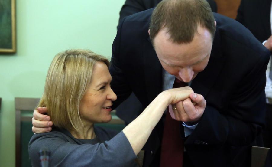 Prezes TVP Jacek Kurski i prezes Polskiego Radia Barbara Stanisławczyk-Żyła
